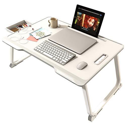 TWW Mesa pequeña de Cama Simple, Mesa de computadora Plegable, Mesa Perezosa, Mesa para Sentarse en el Dormitorio, Escritorio de Estudio Simple para Estudiantes