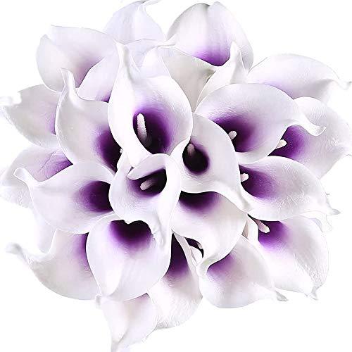 Veryhome 20 Stück Künstlich Calla Lilie Braut Blume Latex Wahre Berührung Familie Dekoration Party Hochzeit Hotel Dekoration Blumenstrauß (Lila-Weiß)