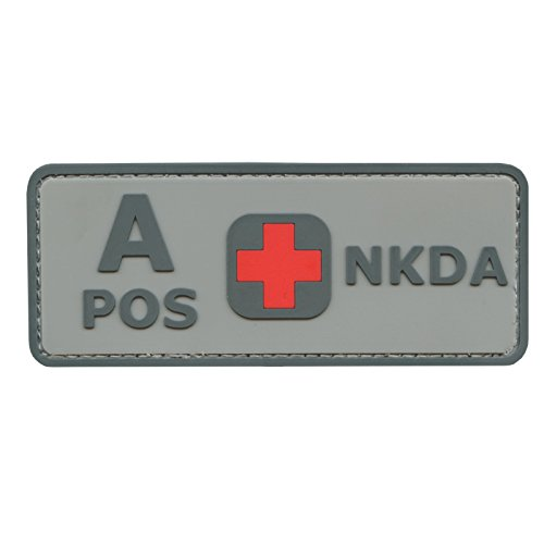 2AFTER1 ACU Gray A POS Blood Type NKDA Combat Tactical PVC Rubber 3D Touch Fastener Patch