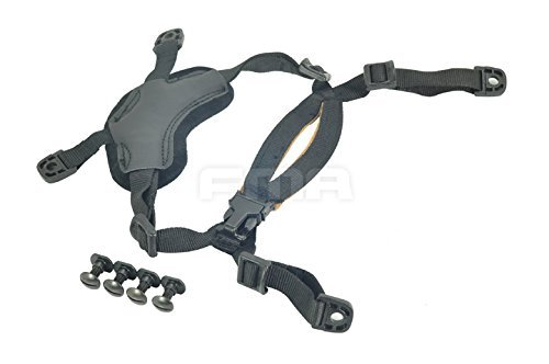 Ordinary Helmet General Suspension Lanyard with 4 Points Chin Strap with Bolts and Screws for Fast MICH IBH Helmet Black