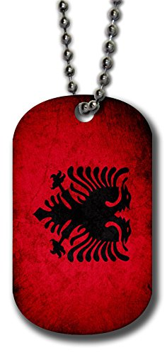 ExpressItBest Aluminum Dog Tag Necklace and Key Ring - Flag of Albania (Albanian) - Rustic