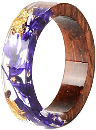 8mm Transparent Acrylic Resin Wood Ocean Style Wedding Band Anniversary Ring Purple 8 product image