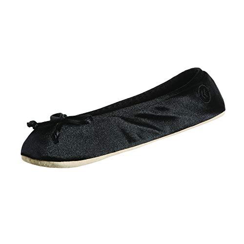 isotoner Womens Satin Ballerina With Bow, Suede Sole Slipper, Black Soft Tie Bow, 8 9 US