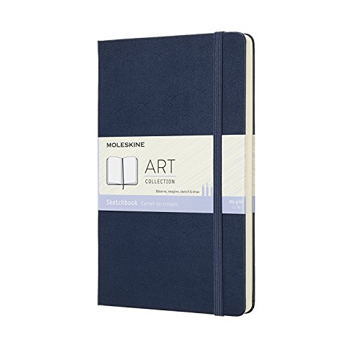 Moleskine Art Sketchbook, Hard Cover, Large (5' x 8.25') Plain/Blank, Sapphire Blue, 104 Pages