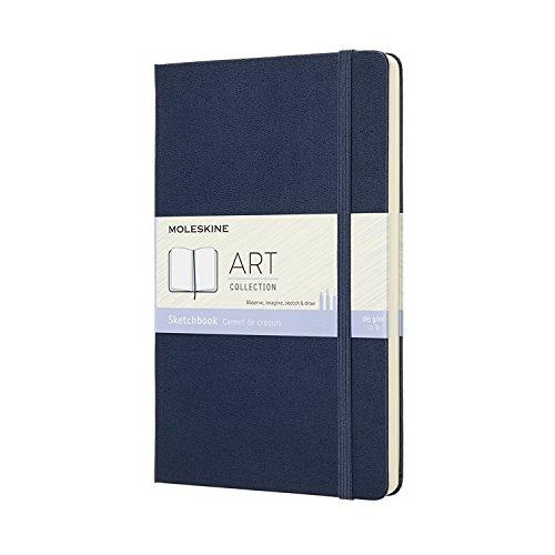 Moleskine Art Collection Skizzenbuch, Zeichenblock Notizbuch Album (mit Hardcover und elastischem Verschluss, geeignet für Kugelschreiber, Stifte und Buntstifte, Groß 13 x 21 cm, 88 Seiten) schwarz
