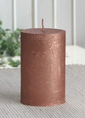 Rustik-Stumpenkerze, 8 x 5 cm Ø, Kupfer-metallic