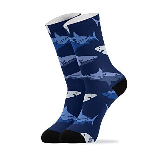 Calcetines casuales para mujer hombre - Vector patrón tiburón tobillo calcetines novedad calcetines acolchados 1 par, multicolor, L