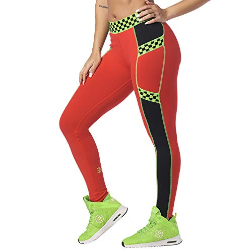 Zumba Fitness Weit Jacquard Bund Kompression Sexy Sport Workout Leggings Damen, Really Red-y, L