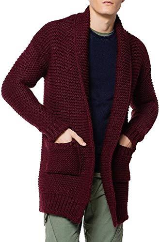 The Project Garments Men's Oversized Shawl Collar Wool Blend Cardigan Burgundy (X-Large)