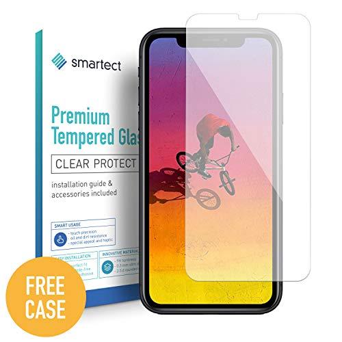 smartect kogelvrij glas compatibel met Apple iPhone XR [2 stuks + gratis case] - screen protector met 9H hardheid - bubbelvrije beschermlaag - antivingerafdruk kogelvrije glasfolie
