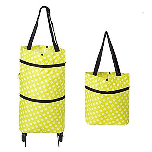 Bidiri Collapsible Two-stage zipper Trolley Bags - Folding Shopping Bag with Wheels Foldable Shopping Cart Reusable Shopping Bags Grocery Bags Shopping Trolley Bag on Wheels for Women (Green)