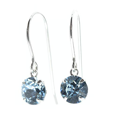 pewterhooter. petite 925 Sterling Silver drop earrings for women made with sparkling Aquamarine Blue crystal from Swarovski. Gift box. Made in the UK.