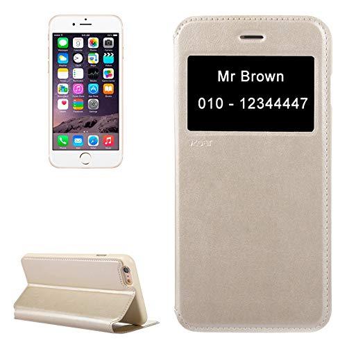 Carcasa de telefono Caja del teléfono móvil rugido loco textura caballo Caso de cuero con el sostenedor y ranura for tarjeta de identificación de llamada y de identificación for iPhone 6 y 6S (Negro)
