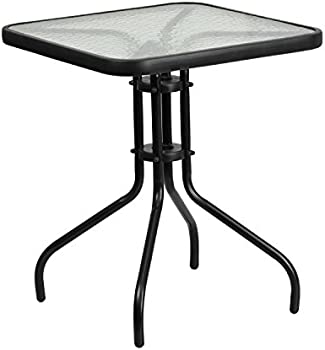 Flash Furniture 23.5 Inch Square Tempered Glass Metal Table