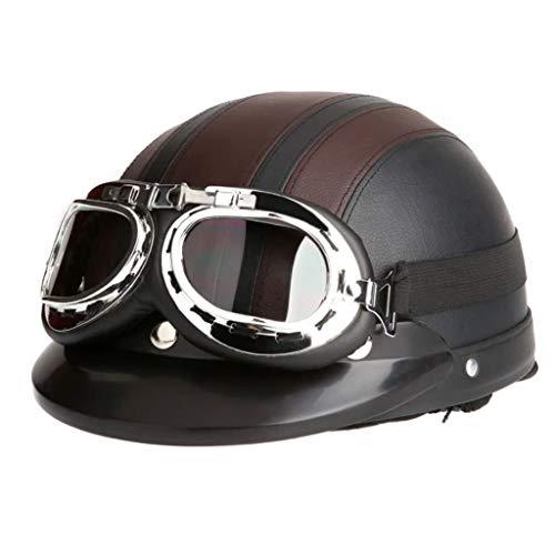Youliy Casco de bicicleta para adultos, casco de motocicleta vintage, casco de...
