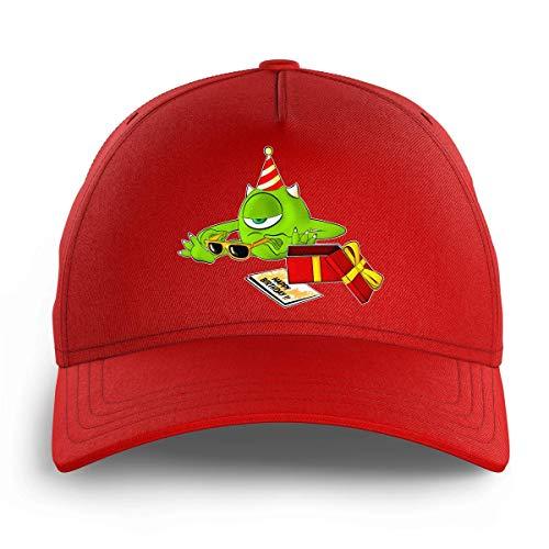 OKIWOKI Die Monster AG Lustiges Rot Kinder Kappe - Mike Wazowski (Die Monster AG Parodie signiert Hochwertiges Kappe - Einheitsgröße - Ref : 754)