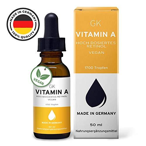 Vitamin A Tropfen Hochdosiert - 50ml 1700 Tropfen 5000 I.E (1500µg) je Tagesdosis - 100% frei von Zusatzstoffen - laborgeprüft & hochdosierte Augen & Haut Vitamine für verbesserte Wachstumsprozesse