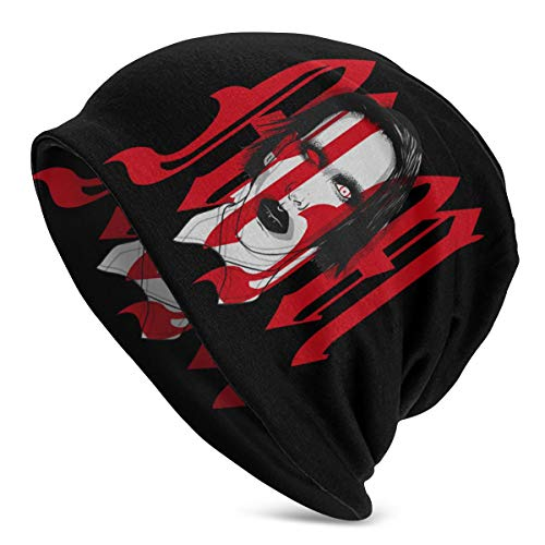 Fashion Marilyn Manson Adult Men's Knit Hat Pattern Baggy Cap Hedging Head Hat Top Level Beanie Cap Black
