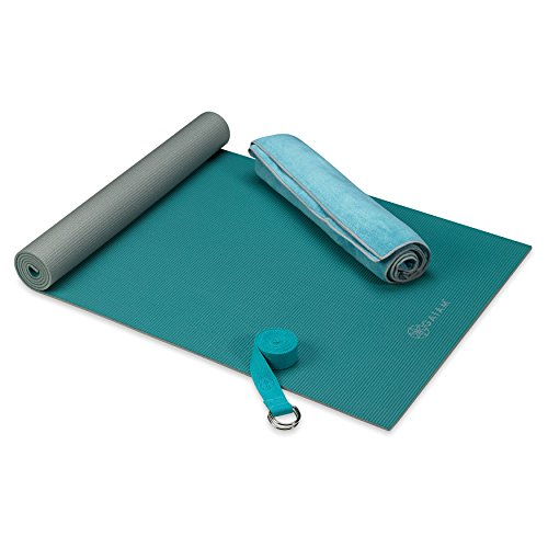 "Gaiam Classic Hot Yoga Kit | Starter Set Includes Yoga Mat (68""L x 24""W x 4mm Thick), Mat-Sized Yoga Towel, 6ft Yoga Strap, Teal"