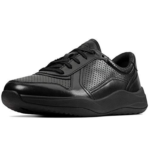 Clarks Sift Speed, Zapatillas Hombre, Negro (Black Leather Black Leather), 41.5 EU