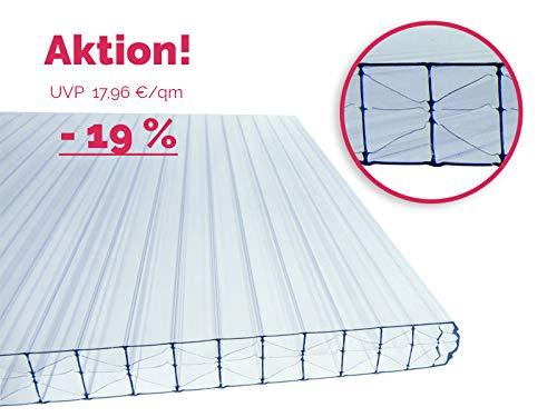 16 mm Stegplatte aus Polycarbonat, klar, Struktur 3-fach + X, Breite: 980, 1200, 2100 mm, Länge: 1000-7000 mm klar/farblos (2000 x 1200 mm)