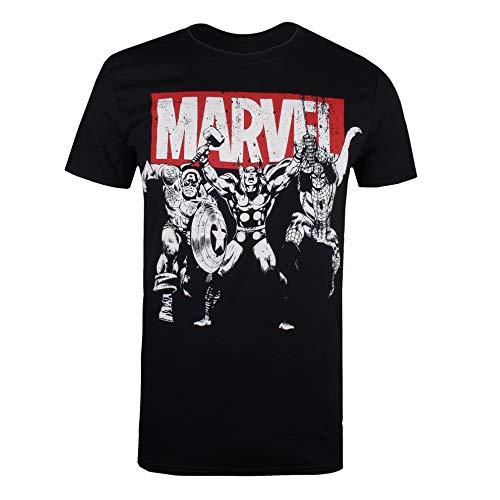 Marvel Trio Heroes T-Shirt, Noir (Black Blk),...