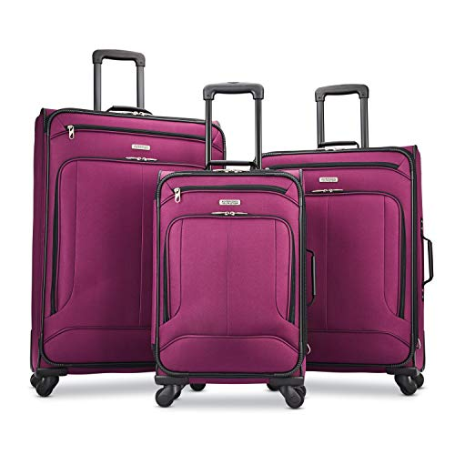 American Tourister Pop Max Softside Luggage with Spinner Wheels, Berry, 3-Piece Set (21/25/29)