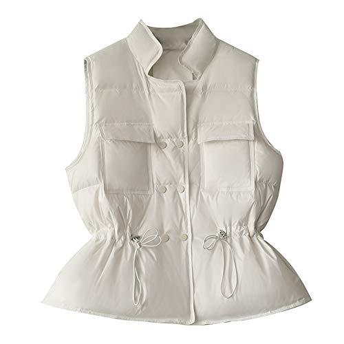 Daunenjacke Weste, kurze lässige Mode Weste Jacke Stehkragen, Zweireiher-L