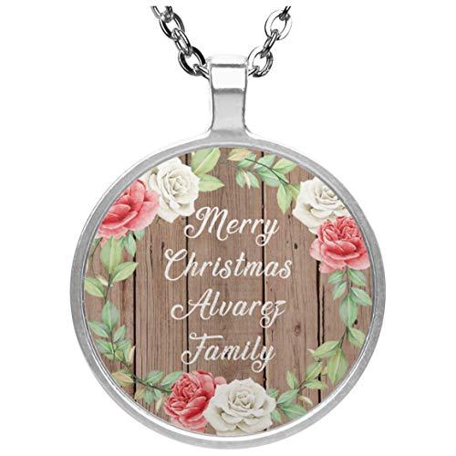 Merry Christmas Alvarez Family - Circle Necklace B Collar, Colgante, Bañado en...