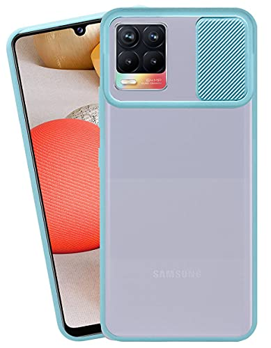 HARRAI® Slide Cover Camera Lens Protector Matte Translucent Soft Edges Anti-Scratch Anti-Fingerprint Cover for Realme 8 Pro (Sky Blue)