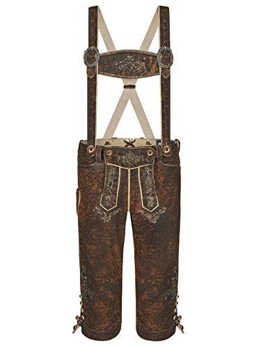 Almbock Wildbock Lederhose Herren - braune Lederhosen Kniebund mit Knöpfen in Hornoptik - Trachtenhose Herren antik - Lederhose Herren Dreiviertel 56