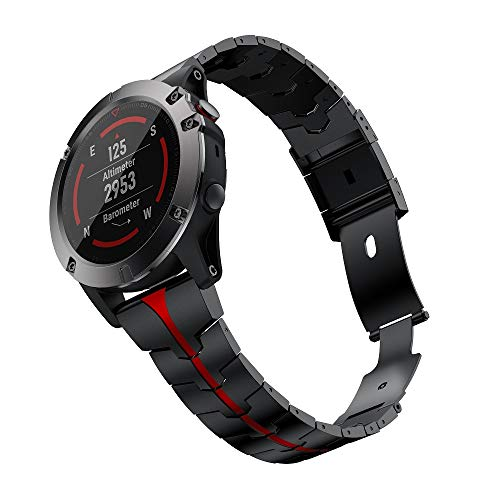 Check Out This RABUZI Compatible Garmin Fenix 6X/5X Plus Band,26mm Enamel Stainless Steel Metal Quic...