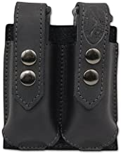 Barsony Black Leather Double Magazine Pouch for S&W 6926 908 909 910