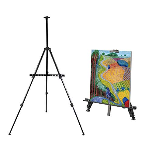 """Artist Easel Stand, Thick Metal Tripod Display Easel 21"""" to 66"""" Adjustable Height with Carrying case for Table-Top/Floor Display, Painting (1-Pack)"""