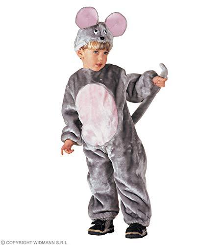 Widmann WDM3628T Maus-Kostüm aus Plüsch für Kinder, Unisex, Grau, 3-5 Jahre (verschiedene Größen)