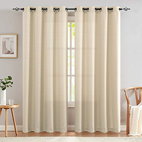 TOPICK Partiell Sheer Vorhang Mit Ösen Transparent Gardine 2 Stücke Gaze Paarig Fensterschal Vorhänge 225 cm x 135 cm(H x B) Beige