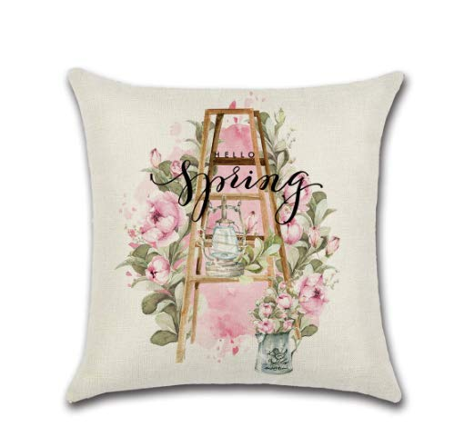 Sigle-Sided Pink Cute Truck Spring Print Cushion Cover Throw Pillow Cover Nordic Room Decoration for Home Car Sofa Couch