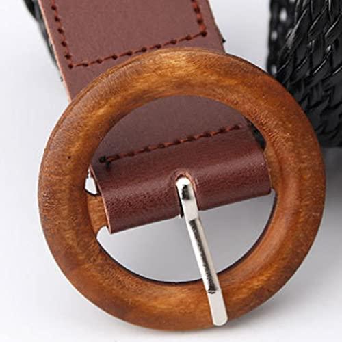 Cinturones Elásticos Bohemios De La Paja Tejida De La Cintura De La Cintura Elástica del Estrecho Cinturón con La Hebilla De Madera Accesorio De La Banda De La Cintura para Las Mujeres