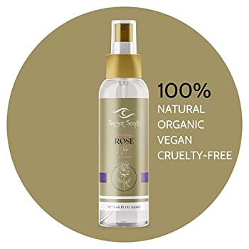 Secret Sands   Pure Rose Water   100% Natural & Organic   100% Vegan & Hypoallergenic Cosmetic   Hair Body and Face Care   Make Up Setting Spray & Skin Toner Spray Mist  Rose 4.06 fl oz