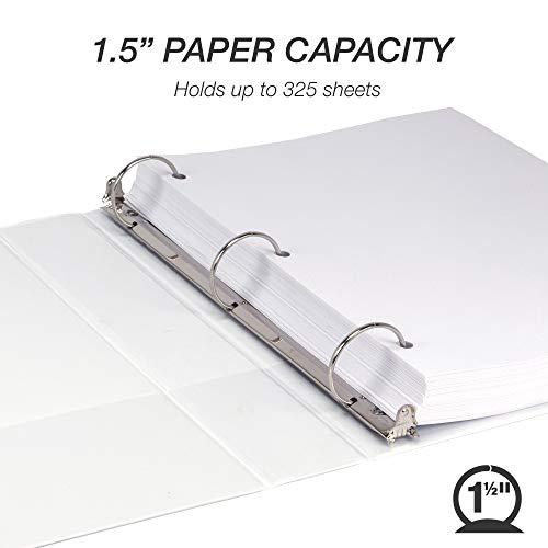 Samsill Durable 1.5 Inch Binder / White Round Ring Binder / Customizable Clear View Binder / Bulk Binder 12 Pack / White 3 Ring Binder / 1.5 Inch Binder Photo #5