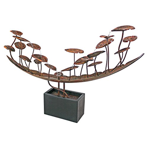 Water Fountain - Nearly 6 Foot Long Grande Asian Botanical Garden Decor Metal Fountain - Outdoor Water Feature