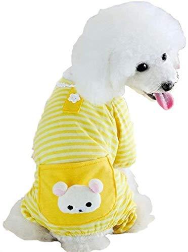 XIRUN Vestiti per Cuccioli Cappotto per Cani Tuta Comodi Pigiami per Cani Camicia per Cani Strisce Vestiti per Cani-XL_Giallo