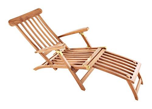SAM Teak-Holz Deckchair Puccon, verstellbare Sonnenliege, klappbar, ideal für Balkon, Terrasse und Garten