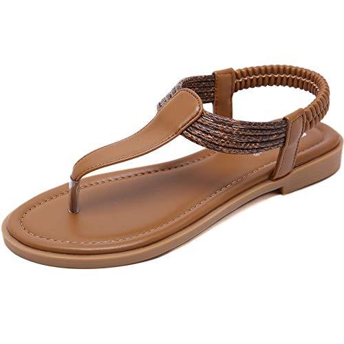 GAXmi Sandalias Mujer Plana Bohemio Espiga Diamante De Imitación Playa Clip Toe Pisos Cómodo Casual Zapatos marron 39 EU