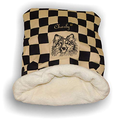 LunaChild Handmade Hunde Kuschelhöhle Name Wunschname Schlafsack Kuschelsack Hundebett Collie 1 Name Snuggle Bag Größe S M Loder XL viele Farben Unikat personalisiert