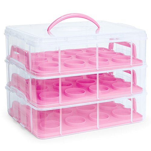 Best Choice Products 3-Tier Cake and Cupcake Holder Carrier Container Tray w/Detachable Tiers - Pink