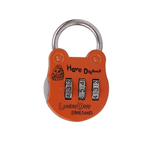 3 Kombination Sicherheitsschrank Reisegepäck-Taschencode Vorhängeschloss Orange
