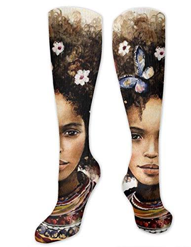 hdyefe Kniestrümpfe, schwarz, Kunst, afrikanisch, Frauen, Blumen- und Schmetterlingskunst, Kompressionsstrümpfe, Sportsocken, personalisierbares Geschenk, Socken für Männer, Frauen, Teenager, Mädchen