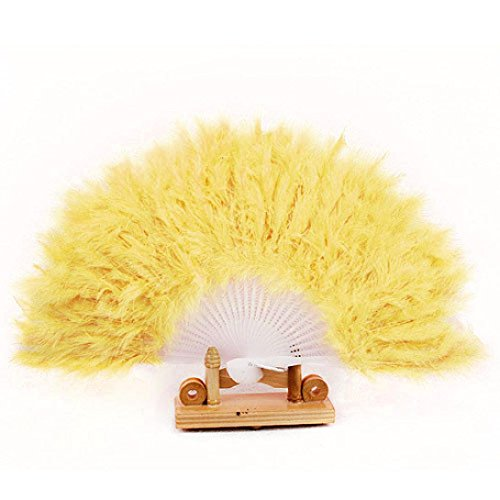 Cute Feather Fan For Dance Props Hand Goose Feather Folding Fan Wedding (Yellow)