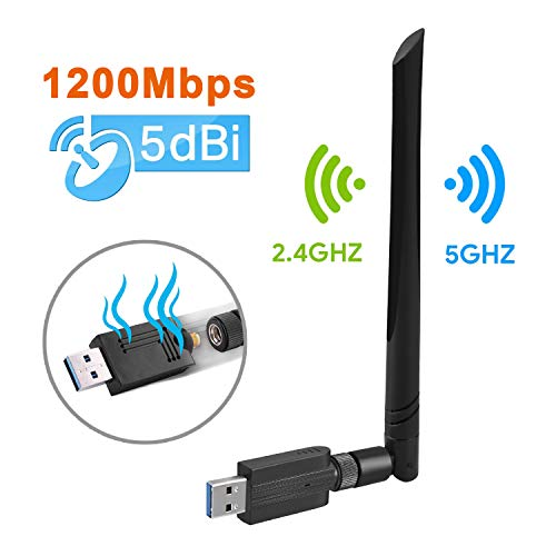 bon à choisir Dongle WiFi double bande Maxesla Adaptateur WiFi USB AC1200 Mbit / s Dongle WiFi, antenne 5 dBi, double bande 2,4 / 5 GHz, compatible avec Windows XP / Vista / 7/8/10, Linux, adaptateur sans fil Mac OS X